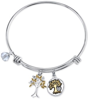 Unwritten Two-Tone Family Tree Message Charm Bangle Bracelet in Stainless Steel with Silver Plated Charms