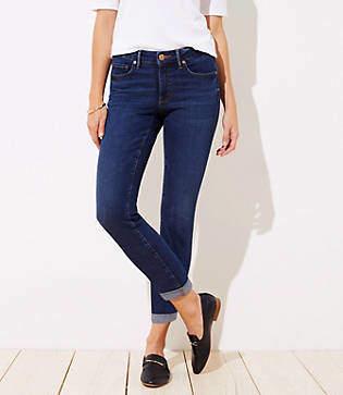 LOFT Petite Curvy Soft Slim Pocket Skinny Crop Jeans in Authentic Dark Indigo Wash