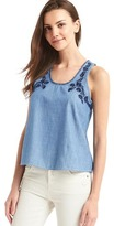 1969 Denim Embroidered Floral Tank