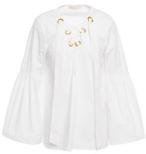 MICHAEL Michael Kors Lace-up Stretch Cotton-poplin Blouse