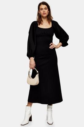 Topshop Black Poplin Mix Midi Dress