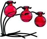 Romantic Decor & More Colorful Glass Floral, Bud or Rooting 3 Ball Vase Set with Stand - G109 Red Vase ~ Use as Flower, Bud, Plant Starter Vase. Colorful Gift Box Included