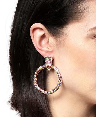 Amrita Singh Women's Earrings Multi - Yellow & Red Crystal & Goldtone Stripe Circle Drop Earrings