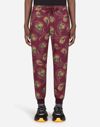 Dolce & Gabbana Jersey Jogging Pants With Peacock Print