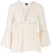 Cream Lace-Up Bell-Sleeve Empire-Waist Top