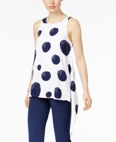 Alfani Petite Dot-Print Asymmetrical Top, Created for Macy's