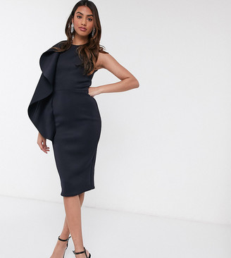 True Violet exclusive frill front midi pencil dress in navy