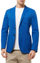 Jaeger Cotton Unstructured Blazer, Blue