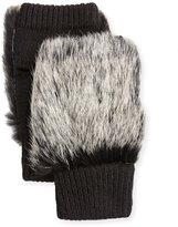Adrienne Landau Rabbit Fur Fingerless Gloves, Black