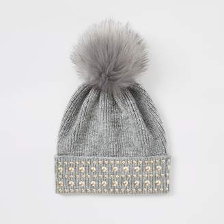 River Island Womens Grey faux fur pom pom studded beanie