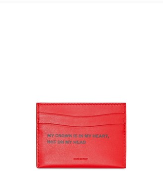 Burberry Quote Print Leather Card Case