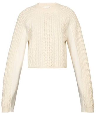 Chloé Cropped Cable-knit Sweater - Ivory