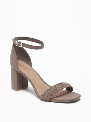 Old Navy Faux-Suede Braided-Strap Block-Heel Sandals for Women