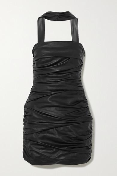 ZEYNEP ARCAY Cutout Ruched Leather Mini Dress - Black