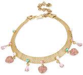 Betsey Johnson Gold-Tone Multi-Charm Mesh Choker Necklace