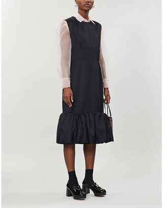 Selfridges Prada ruffled hem wool and silk-blend midi dress