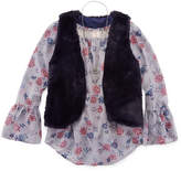 Arizona Long Sleeves Floral Chiffon Top with Fur Vest & Necklace - Girls' 7-16 & Plus