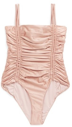 Isa Boulder Chandler Tie-straps Ruched Swimsuit - Dark Pink