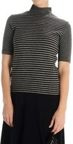 Joan Vass Striped Turtleneck - Elbow Sleeve (For Women)