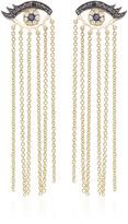 Sydney Evan Small Evil Eyelash Long Chain Fringe Earrings