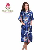 Must Rose Women Long Kimino Robe Peacork Satin Nightwear Peacork &Blossoms