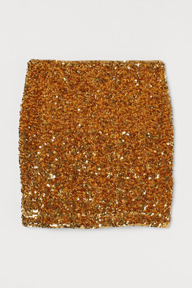 H&M Sequined Skirt - Gold