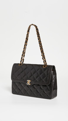"""What Goes Around Comes Around Chanel Black Lamb Paris Limited 11"""" Bag"""