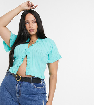Rokoko Plus ribbed short sleeved knitted top in mint