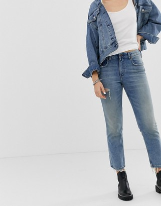 Cheap Monday cropped mom jeans in rigid denim with destroyed pocket