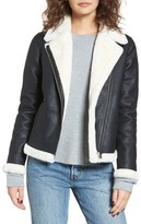 Obey Women's Chloe Faux Leather Moto Jacket With Faux Fur Trim