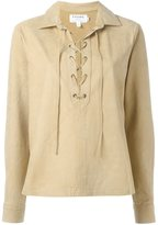 Frame lace-up suede top