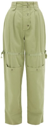 Etro Margherita Cargo-pocket Cotton-canvas Trousers - Womens - Green Multi