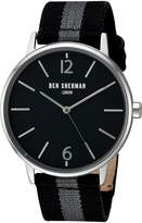 Ben Sherman Men's 'Portobello Stripe' Quartz Stainless Steel and Leather Automatic Watch, Multi Color (Model: WB044BA)