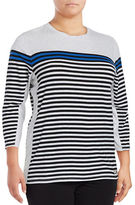 Calvin Klein Performance Plus Long-Sleeve Striped Performance Top