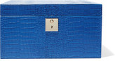Smythson Mara Croc-effect Leather Jewelry Box - Blue