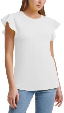 DKNY Mixed-Media Ruffle-Sleeve Top
