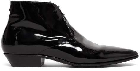 Saint Laurent Jonas Patent Leather Ankle Boots - Womens - Black