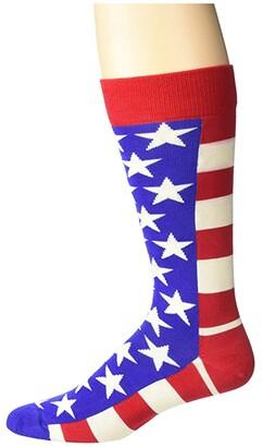 Happy Socks Flag Sock (Navy/Red) Men's Crew Cut Socks Shoes