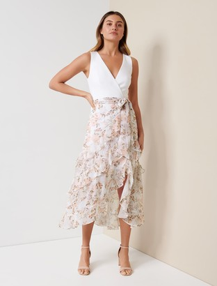 Forever New Joanna Frill Two-in-One Maxi Dress - Vintage Coral Floral - 14