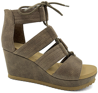 Bamboo Women's Sandals TAUPE - Taupe Laced-Strap Beehive Wedge Sandal - Women