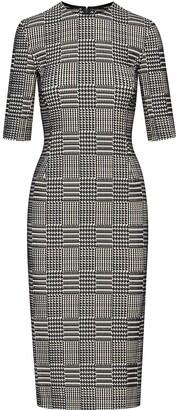 Oscar de la Renta Houndstooth Pattern Fitted Dress