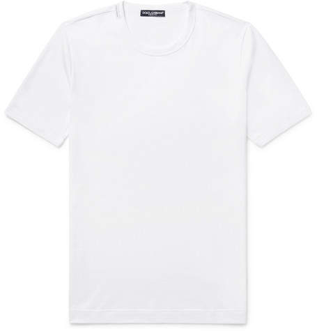 Dolce & Gabbana Slim-Fit Cotton-Jersey T-Shirt - Men - White