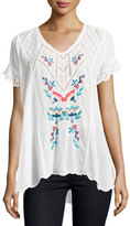 Johnny Was Vara Short-Sleeve Embroidered Blouse, White