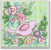 Stupell Industries The Kids Room by Stupell Pink Bird Facing Right on a Floral Branch Square Wall Plaque