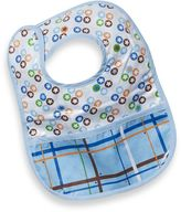 Caden Lane Star Dot/Plaid Reversible Coated Bib in Blue