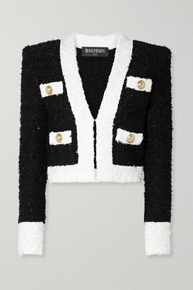 Balmain Cropped Embellished Tweed Blazer - Black