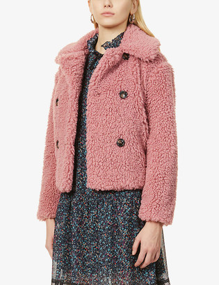 Topshop Double-breasted cropped faux-fur jacket