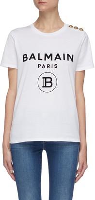 Balmain Metallic shoulder button logo print T-shirt