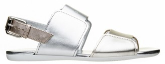 Hogan Flat Open Leather Sandals
