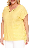 Alfred Dunner Seas The Day Short Sleeve Split Crew Neck T-Shirt-Womens Plus